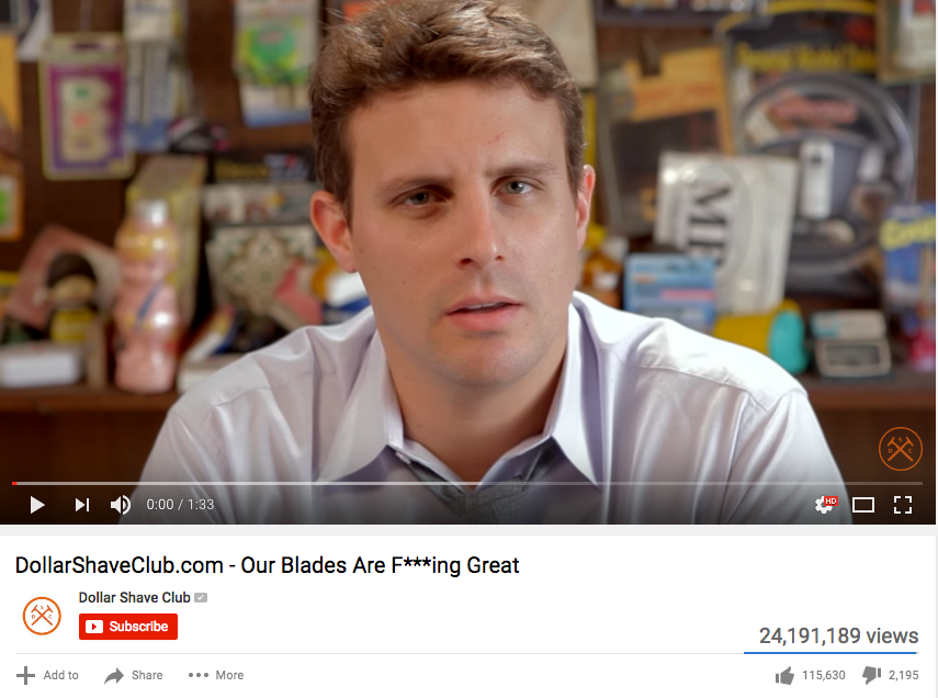 Dollar Shave Club used sequencing to tell a story with their video ads.
