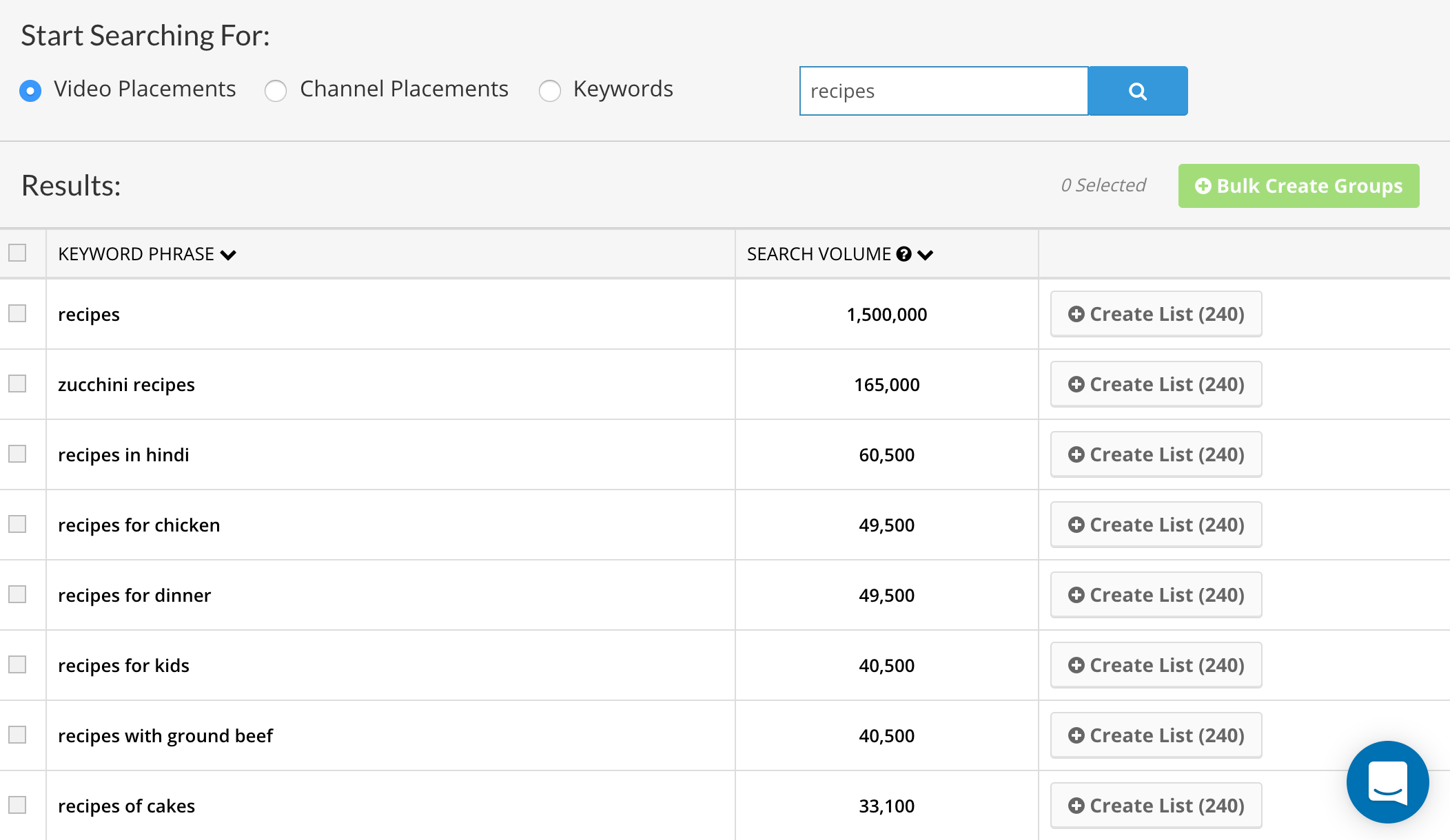 Use our targeting tool to quickly find 1000's of relevant videos to advertise on.